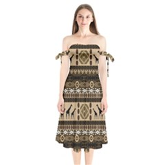 Giraffe African Vector Pattern Shoulder Tie Bardot Midi Dress