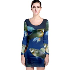 Marine Fishes Long Sleeve Bodycon Dress