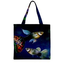 Marine Fishes Zipper Grocery Tote Bag