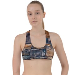 Brick Wall Pattern Criss Cross Racerback Sports Bra