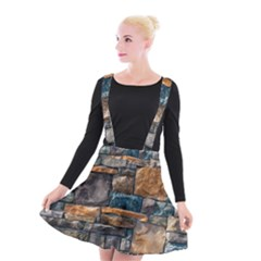 Brick Wall Pattern Suspender Skater Skirt