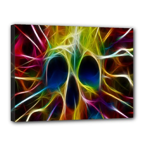 Skulls Multicolor Fractalius Colors Colorful Canvas 16  X 12  by BangZart