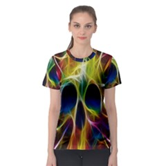 Skulls Multicolor Fractalius Colors Colorful Women s Sport Mesh Tee