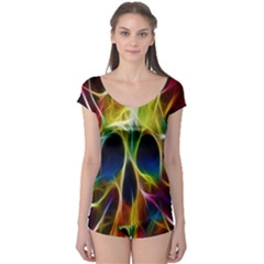 Skulls Multicolor Fractalius Colors Colorful Boyleg Leotard