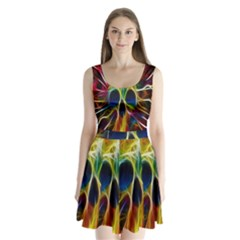 Skulls Multicolor Fractalius Colors Colorful Split Back Mini Dress