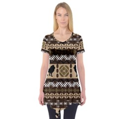 Lion African Vector Pattern Short Sleeve Tunic