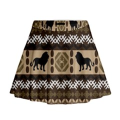 Lion African Vector Pattern Mini Flare Skirt