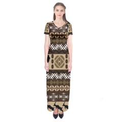 Lion African Vector Pattern Short Sleeve Maxi Dress
