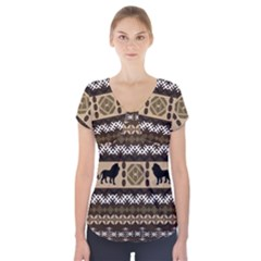 Lion African Vector Pattern Short Sleeve Front Detail Top