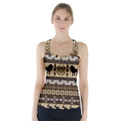 Lion African Vector Pattern Racer Back Sports Top