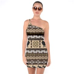 Lion African Vector Pattern One Soulder Bodycon Dress