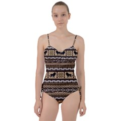 Lion African Vector Pattern Sweetheart Tankini Set