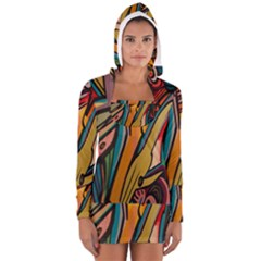 Vivid Colours Long Sleeve Hooded T Shirt
