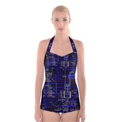 Technology Circuit Board Layout Boyleg Halter Swimsuit