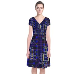 Technology Circuit Board Layout Short Sleeve Front Wrap Dress