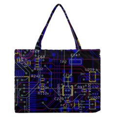 Technology Circuit Board Layout Medium Zipper Tote Bag