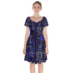 Technology Circuit Board Layout Short Sleeve Bardot Dress