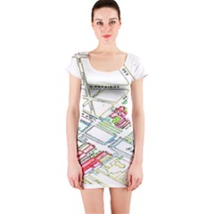 Paris Map Short Sleeve Bodycon Dress
