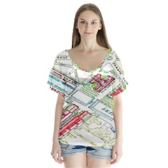 Paris Map Flutter Sleeve Top