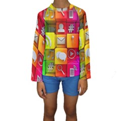 Colorful 3d Social Media Kids  Long Sleeve Swimwear by BangZart