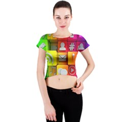 Colorful 3d Social Media Crew Neck Crop Top