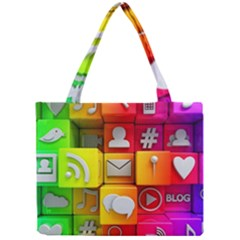 Colorful 3d Social Media Mini Tote Bag