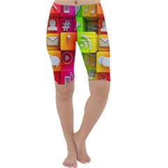 Colorful 3d Social Media Cropped Leggings