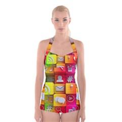 Colorful 3d Social Media Boyleg Halter Swimsuit