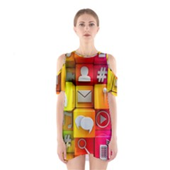Colorful 3d Social Media Shoulder Cutout One Piece