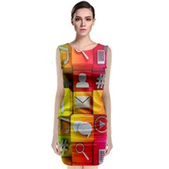Colorful 3d Social Media Classic Sleeveless Midi Dress by BangZart