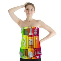 Colorful 3d Social Media Strapless Top by BangZart
