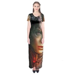 Digital Fantasy Girl Art Short Sleeve Maxi Dress