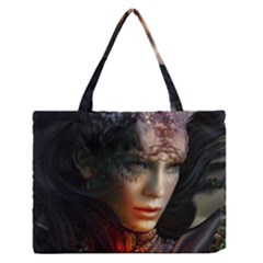 Digital Fantasy Girl Art Medium Zipper Tote Bag