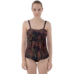 Digital Camouflage Twist Front Tankini Set by BangZart