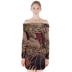 Chinese Dragon Long Sleeve Off Shoulder Dress