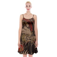 Chinese Dragon Spaghetti Strap Velvet Dress