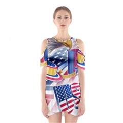 United States Of America Usa  Images Independence Day Shoulder Cutout One Piece