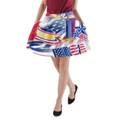 United States Of America Usa  Images Independence Day A Line Pocket Skirt
