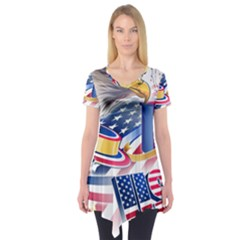United States Of America Usa  Images Independence Day Short Sleeve Tunic