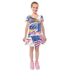 United States Of America Usa  Images Independence Day Kids  Short Sleeve Velvet Dress