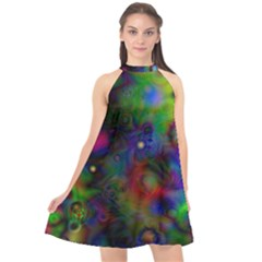 Full Colors Halter Neckline Chiffon Dress