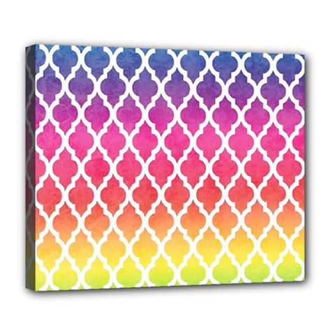 Colorful Rainbow Moroccan Pattern Deluxe Canvas 24  X 20