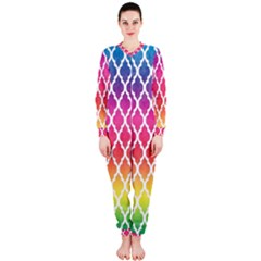 Colorful Rainbow Moroccan Pattern Onepiece Jumpsuit (ladies)