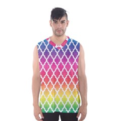 Colorful Rainbow Moroccan Pattern Men s Basketball Tank Top