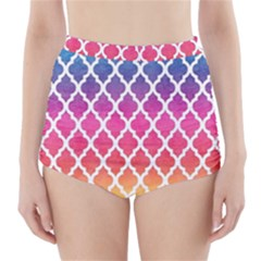 Colorful Rainbow Moroccan Pattern High Waisted Bikini Bottoms