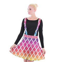 Colorful Rainbow Moroccan Pattern Suspender Skater Skirt