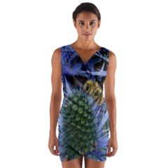 Chihuly Garden Bumble Wrap Front Bodycon Dress