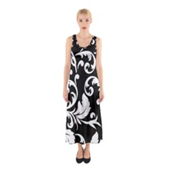 Vector Classicaltr Aditional Black And White Floral Patterns Sleeveless Maxi Dress