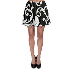 Vector Classicaltr Aditional Black And White Floral Patterns Skater Skirt