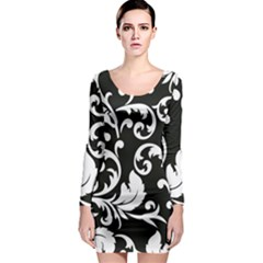 Vector Classicaltr Aditional Black And White Floral Patterns Long Sleeve Bodycon Dress